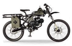 The Motoped Survival is a motor-assisted bicycle that gets up to 160 miles to the gallon, and the 49CC motor will take it up to 500 miles on a three gallon fill-up.