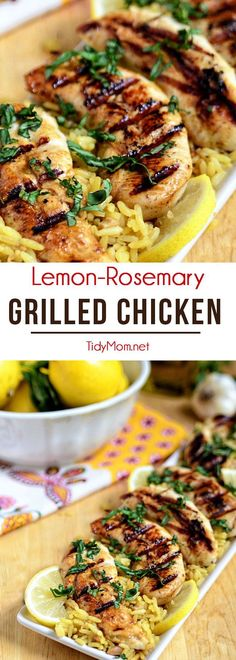This Lemon Rosemary Grilled Chicken cooks up on the grill in under 10 minutes! Marinade ahead of time for a quick healt
