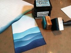#stampingtechniques DIY background with distress inks and a template, make, waves with greens or blue tones http://stampingwithbibiana.blogspot.com/