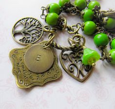 Green personalized vintage style necklace, by romanticcrafts #handmade-jewelry#vintage-style-charm-necklace-personalized-jewelry-women