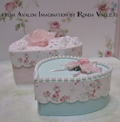 Mint and Pink shabby chic heart shaped trinket boxes from Avalon Imagination Listed on Etsy here:  https://www.etsy.com/listing/106511223/pink-shabby-chic-heart-decorative