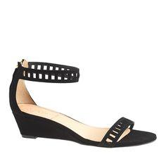Lillian suede lattice low wedges - sandals - Women's shoes - J.Crew