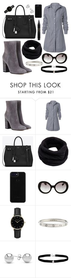 """Grey"" by lauraleeanne ❤ liked on Polyvore featuring Gianvito Rossi, Yves Saint Laurent, Helmut Lang, Prada, ROSEFIELD, Cartier, Jewelonfire, Amanda Rose Collection and MAC Cosmetics"