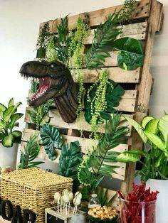 Jurassic Park/Dinosaur Birthday Party Ideas | Photo 2 of 31 | Catch My Party Birthday Party At Park, Backyard Birthday, Boy Birthday Parties, Third Birthday, Dinosaur Birthday Cakes, Dinosaur Party, Jurassic Park Party, Party Decoration, Backdrops For Parties