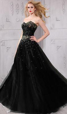 9c93ecbc13 A Line Strapless Sweetheart Black Tulle Rhinestone Beaded Prom Dress Corset  Back