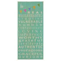 "Perfect as a delightful focal point or in an eye-catching vignette, this typographic decor print brings an inspirational message to your walls. Place it in your kitchen or near the entryway to give a cheerful twist to busy mornings.     Product: Wall decor Construction Material: Canvas and wood  Features: Ready to hang Dimensions: 18"" H x 8"" W     Cleaning and Care: Wipe with dry cloth"
