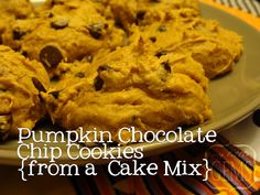 Pumpkin Chocolate Chip Cookies from a Cake Mix