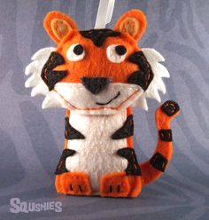 Felt Tiger Ornament Felt Animal Zoo Animal Ornament  by Squshies, $35.00