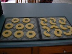 "Dehydrated pineapple rings are so good for you and most importantly- DELICIOUS!  Easy Intro To Dehydrating Pineapples At Home-  Go buy a pineapple.  The already cored is OK, but do the work and you will get fresh.  Buy at least 3 to fill your dehydrator.  Wash, peal and core your pineapple.  Slice about 1/4"" thickness.  Spread on tray.  You can also dehydrate them chunk style, but my children prefer the rings.  Dehydrate at 115 degrees, check on them after about 4 hours or so.  I love to flip..."