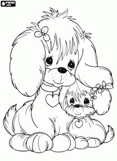 Two dogs of Precious Moments,  mum dog and her puppy coloring page