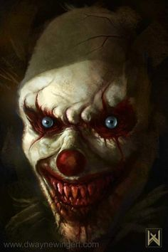 Creepy Evil Clown by Dwayne Wingert