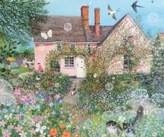 Homes & Gardens Portfolio Lucy Grossmith Heart To Art Art And Illustration, Cottage Art, Pink Houses, Naive Art, Art Graphique, Painting Inspiration, Garden Art, Cute Art, Countryside