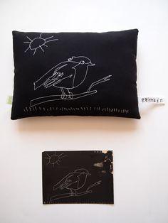 Création textile Zut! pièce unique. Dessin du papa de Germain retrouvé par sa maman. Surprise pour la naissance de bébé ! http://www.atelier-zutfrance.com/