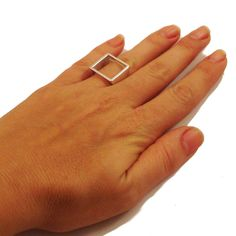 Sterling Silver Open Square ring