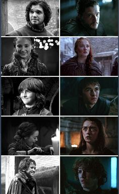 The Starks season 1 vs season 6. Aw they were so clean and pure and happy ❤