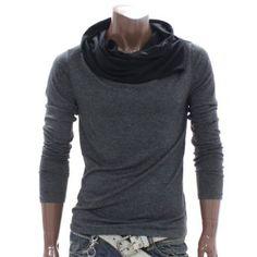 Doublju Mens Shirring Turtleneck Shirt (DAK10)