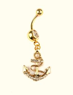 Attractive Anchors Dangle Belly Button Rings Body Piercing Gold Sexy N | More Stuff I Like