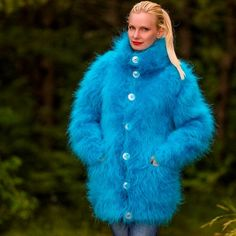 Fuzzy hand knitted mohair cardigan in aqua blue by SuperTanya - S, M size Mohair Cardigan, Turtleneck Outfit, Blue Cardigan, Aqua Blue, Wool Coat, Fur Coat, Gros Pull Mohair, Cute Cardigans, Women's Sweaters