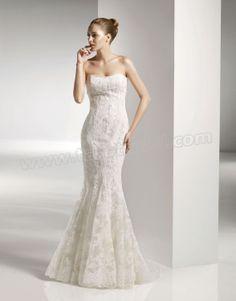 Softly Curved Neckline Embroidered Bodice Mermaid Wedding Dress