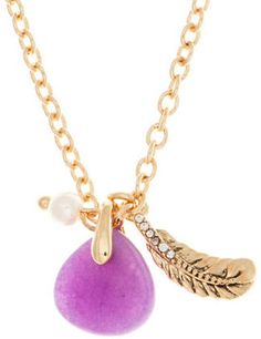 Lonna & Lilly 4MM Faux Pearl and Semi-Precious Reconstituted July Birthstone Charm Necklace