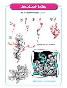 DecoLoop Echo pattern by Ina Sonnenmoser Zen Doodle Patterns, Doodle Art Designs, Zentangle Patterns, Doodle Art Drawing, Zentangle Drawings, Doodles Zentangles, Tangle Doodle, Tangle Art, Schmuck Design