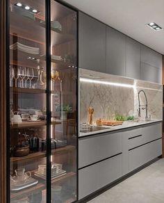 Kitchen Pantry Design, Modern Kitchen Cabinets, Kitchen Dinning, Modern Kitchen Design, Home Decor Kitchen, Interior Design Kitchen, Kitchen Furniture, Home Kitchens, Kitchen Backsplash
