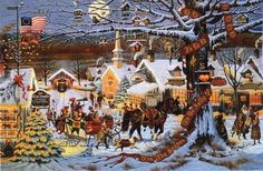 """Small Town Christmas"" Wysocki. I own this puzzle and I have yet to put it together, gorgeous!"