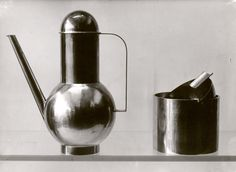 Marianne Brandt, Bauhaus coffee pot and ash tray, 1924. Photography by Lucia Moholy. © Fotostiftung Schweiz, Winterthur.