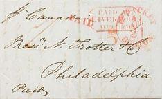 a gran bretana prefilatelia sobre 1851 liverpool a philadelphia marca paid