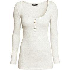 H&M Henley shirt ($11) ❤ liked on Polyvore featuring tops, shirts, blusas, h&m, long sleeve shirts, light grey marl, shirt top, extra long sleeve shirts, henley shirt and h&m shirts