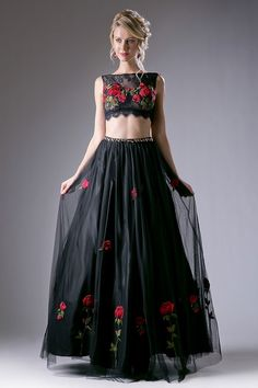 Two Piece Set, Long Prom and Evening Dress with Open Midriff has Floral Embroidery Embellished Sleeveless Top with Semi Sheer Back featuring Zipper Closure and A-Line Full Length Skirt with Embroidered Sheer Fabric Overlay.
