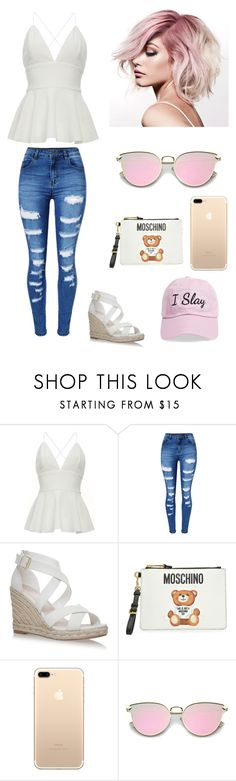 """""""pretty in white"""" by theycallmemandy ❤ liked on Polyvore featuring WithChic, Moschino and Steve Madden"""