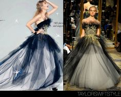 In a photo spread for Elle (Canada)magazine | December 2012  Marchesa Fall 2012 RTW  As a Canadian all of these couture, regal ballgowns Taylor wears in her Elle spread make me so happy. In the magazine, she stuns in a dress by one of her beloved brands: Marchesa. In my opinion, Taylor Swift and Marchesa dresses is my version of fashion soulmates.  Track everything from Taylor's Elle (Canada) spread here.