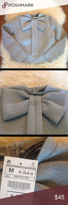 """Big Bow Design Collar Pullover Sweatshirt This beautiful and chic grey pullover is brand new with tags and is a feminine and versatile piece for your wardrobe. It has a cute bow detail at collar, 1/4 zip up back and a raw edge hem and cuffs. Unfortunately having to RePosh because it was to small for my daughter. The tag says Medium, but runs very small, so please see measurements provided. Approximate measurement in inches of sweatshirt lying flat.  Bust: 19"""" Shoulders: 14"""" Length: 20""""…"""
