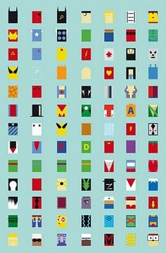 Superheroes, Villains & Robots Represented In Minimalist Form PERFECT FOR NAIL ART STUDIO!