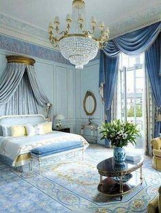 Decoration Design, Deco Design, Modern Victorian Bedroom, Bedroom Vintage, Blue Master Bedroom, Bedroom Small, Royal Bedroom, Bedroom Green, Rustic Bedroom Design