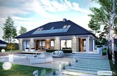 Beautiful, simple, modern home. Projekt domu Magnus II by Pracownia Projektowa ARCHIPELAG. Modern Bungalow House Design, Modern House Plans, Beautiful House Plans, Beautiful Homes, Guest House Shed, One Storey House, Facade House, Design Case, Home Fashion