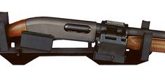 ELS Series Gun Rack features an electric locking mount for most police model pump action shotguns.