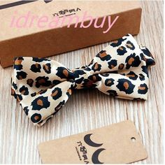 leopard print Polyester Men/ Women's bowtie wedding/ business Polyester bow tie