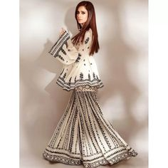 White georgette chain stich work sharara suit Indian Wedding Outfits, Pakistani Outfits, Indian Outfits, Bridal Outfits, Gharara Designs, Indian Kurta, Pakistani Bridal, Pakistani Sharara, Lehenga Choli