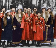 Nicholas II and the Romanovs colourized.