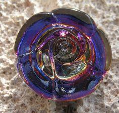 Czech Glass Rose button Blue Purple Pink by lookingglassbuttons, $3.95