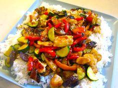 Chicken, Zucchini, Eggplant Stir Fry