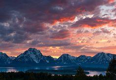 Sunset over Signal Mountain in Grand Teton National Park near Jackson, Wyoming.