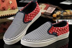 2cf174b4bb7 Beckham Ultimate Blue Red Streak American flag Vans Classic Slip-On Canvas  Skate Shoes