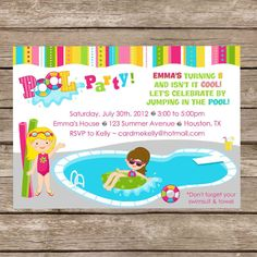 Printable Girl or Boy or Both Pool Party Swimming by CardMeKelly