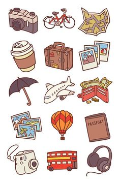 Doodle Art, Doodle Icon, Stickers Cool, Printable Stickers, Kawaii Stickers, Journal Stickers, Scrapbook Stickers, Travel Icon, Travel Drawing