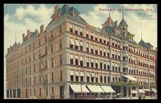 Denison Hotel Antique Postcard 1912 Indianapolis Indiana IN Street View