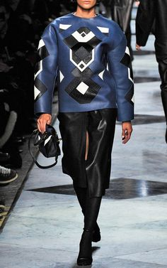 Shop Royal Blue Leather Patchwork Sweatshirt by Loewe for Preorder on Moda Operandi