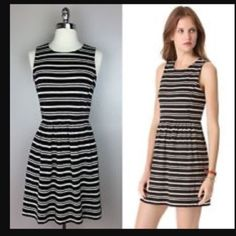 J. Crew - Black/Off-White Stripe Dress Versatile dress that can be worn through all seasons. In great condition. ❌no trades. ❌no PayPal. ❌no negotiating through comments. Price is FIRM. J. Crew Dresses